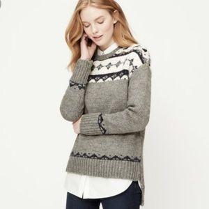 Ann Taylor Loft Fair Isle Small Sweater Gray